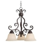 "Manor Collection 3-Light 20"" Oil Rubbed Bronze Down Light Mini Chandelier with Frosted Ivory Glass 12203FIOI"