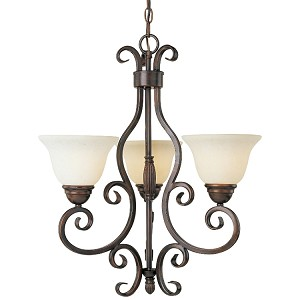"Manor Collection 3-Light 24"" Oil Rubbed Bronze Mini Chandelier with Frosted Ivory Glass 12204FIOI"