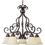 "Manor Collection 5-Light 25"" Oil Rubbed Bronze Down Light Chandelier with Frosted Ivory Glass 12206FIOI"