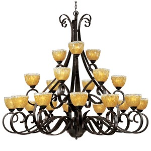 "Barcelona Collection 21-Light 60"" Oil Rubbed Bronze Grand Chandelier with Amber Ice Glass 13417AIOI"