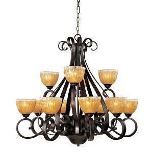 "Barcelona Collection 12-Light 40"" Oil Rubbed Bronze Chandelier with Amber Ice Glass 13418AIOI"