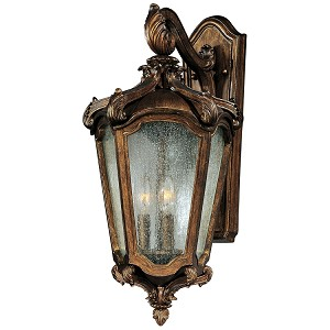 "Bastille Collection 3-Light 23"" Walnut Outdoor Wall Lantern with Clear Night Glass 40224CNWN"