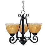 "Barcelona Collection 3-Light 20"" Oil Rubbed Bronze Mini Chandelier with Amber Ice Glass 13413AIOI"