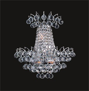"Flamingo Design 3-Light 15"" Gold or Chrome Wall Sconce with European and Swarovski Crystals SKU# 13632"