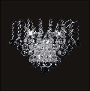 "Flamingo Design 3-Light 15"" Gold or Chrome Wall Sconce with European and Swarovski Crystals SKU# 14457"