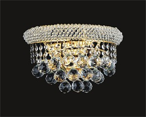 Bagel Design 2-Light 14'' Gold or Chrome Wall Sconce Light Fixture Dressed with European or Swarovski Crystal  SKU# 15487