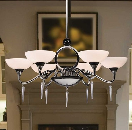 Artcraft Six Light Chrome White Shapely Glass Up Chandelier - AC1286
