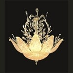 "Blooming Light Design 12-Light 26"" Gold Chandelier with European or Swarovski Crystals and Etched Glass Petals SKU* 10630"