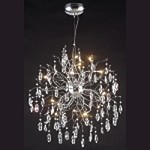 "Lunasphere Design 15-Light 27"" Polished Chrome with Clear Crystal Hanging Pendant SKU# 40060"