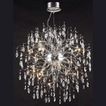 "Lunasphere Design 32-Light 43"" Polished Chrome with Clear Crystal Hanging Pendant SKU# 40055"
