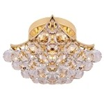 4 & 6 Corner Design 4-Light 13'' Chrome or Gold Ceiling Flush Mount Dressed with European or Swarovski Crystal SKU# 10256