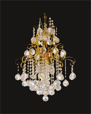 "Contour Design 5-Light 16"" Gold or Chrome Chandelier with European or Swarovski Spectra Crystals SKU# 05263"