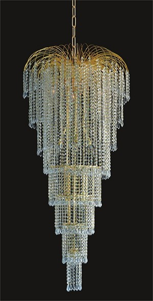 "Waterfall Design 11-Light 25"" Gold or Chrome Chandelier Dressed with European or Swarovski Spectra Crystals SKU# 10506"