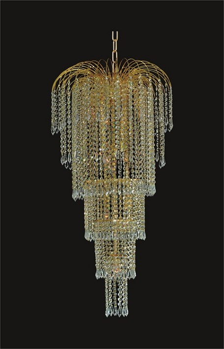 "Waterfall Design 9-Light 21"" Gold or Chrome Chandelier with European or Swarovski Spectra Crystals  SKU# 10504"