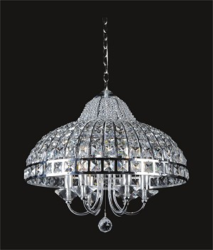 "Chrome 6-Light 19"" Chandelier with Steel Shade and Clear Crystal SKU# 85761"
