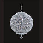 "Chrome 9-Light 16"" Chandelier with Steel Shade and Clear Crystal SKU# 84732"