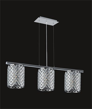 "Chrome 3-Light 36"" Island Light with Steel Shade and Clear Crystal SKU# 85473"