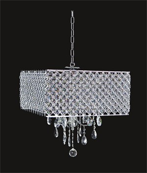 "Chrome 4-Light 17"" Chandelier with Steel Shade and Clear Crystal SKU# 85746"
