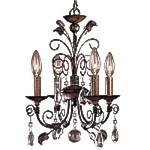 "Belcaro Walnut 4-Light 16"" Mini Chandelier with Clear Crystals 3127-126"