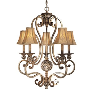"Salon Grand Collection 5-Light 33"" Florence Patina Chandelier with Silk Shades 1555-477"