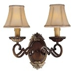 "Belcaro Collection 2-Light 15"" Belcaro Walnut Wall Sconce with Cloth Shades 1944-126"