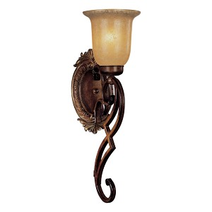 "Belcaro Collection 1-Light 20"" Belcaro Walnut Wall Sconce with Aged Champagne Glass 5941-126"