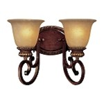 "Belcaro Collection 2-Light 14"" Belcaro Walnut Wall Sconce with Aged Champagne Glass 5942-126"