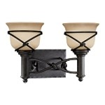 "Aspen II Collection 2-Light 16"" Bronze Wall Sconce with Rustic Scavo Glass 5972-1-138"