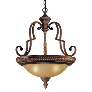 "Belcaro Collection 3-Light 27"" Belcaro Walnut Hanging Pendant with Aged Champagne Glass 937-126"