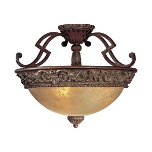 "Belcaro Collection 3-Light 18"" Belcaro Walnut Semi-Flush Ceiling Mount with Aged Champagne Glass 949-126"