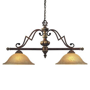 "Belcaro Collection 2-Light 40"" Belcaro Walnut Island Light with Aged Champagne Glass 952-126"
