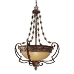 "Belcaro Collection 4-Light 39"" Belcaro Walnut Hanging Pendant with Aged Champagne Glass 953-126"