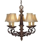 "Belcaro Collection 5-Light 22"" Belcaro Walnut Chandelier with Cloth Shades 955-126"