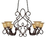 "Belcaro Collection 6-Light 39"" Belcaro Walnut Island Light with Aged Champagne Glass 956-126"
