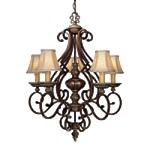 "Belcaro Collection 5-Light 34"" Belcaro Walnut Chandelier with Cloth Shades 957-126"