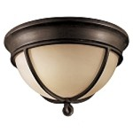 "Aspen II Collection 2-Light 16"" Bronze Flush Mount Ceiling Fixture with Rustic Scavo Glass 976-1-138"