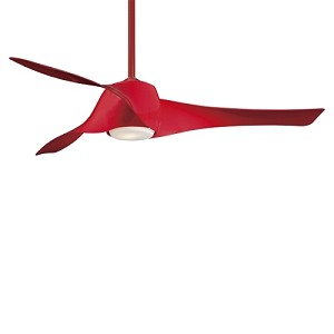 "Artemis 58"" High Gloss Red Ceiling Fan with Etched Opal Glass F803-RD"