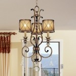"Aston Court Collection 3-Light 29"" Bronze Mini Chandelier with Avorio Mezzo Glass and Glass Accents 4753-206"