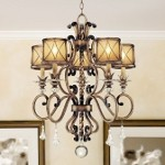 "Aston Court Collection 5-Light 32"" Bronze Chandelier with Avorio Mezzo Glass and Glass Accents 4755-206"