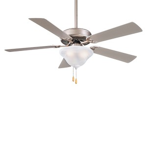"Contractor Uni-Pack 52"" Brushed Steel Ceiling Fan with Silver Blades and Light Kit F548-BS"