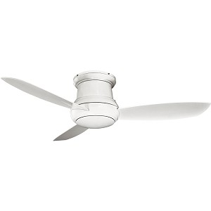 "Concept II Series 52"" Wet Location White Outdoor Hugger Ceiling Fan with Light Kit F574-WH"