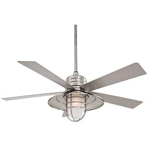 "Rainman Collection 54"" Wet Location Brushed Nickel Outdoor Ceiling Fan with Light Kit F582-BNW"