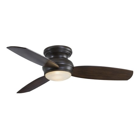 Oil Rubbed Bronze 3 Blade 52In. Flush Mount Indoor/Outdoor Ceiling Fan With Blades And Integrated 1 Bulb Light Kit Included