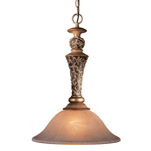 "Salon Grand Collection 1-Light 22"" Florence Patina Pendant with Scavo Glass Shades 1551-477"