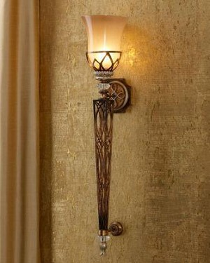 "Aston Court Collection 1-Light 36"" Bronze Wallchiere Wall Sconce with Avorio Mezzo Glass 4750-206"