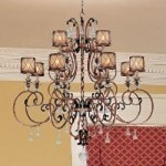 "Aston Court Collection 12-Light 55"" Bronze Chandelier with Avorio Mezzo Glass and Glass Accents 4758-206"