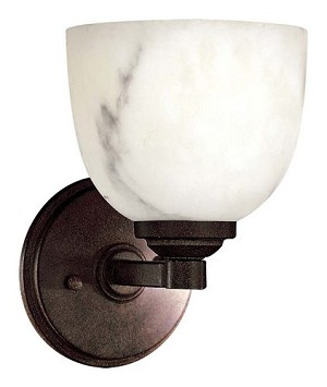 "Calavera Collection 1-Light 8"" Nutmeg Wall Sconce with Alabaster Dust Shades 6820-14"