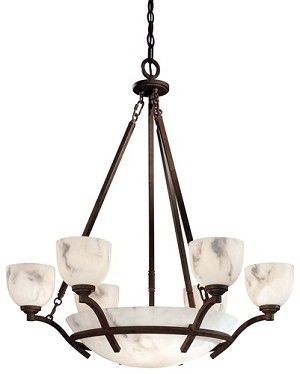 "Calavera Collection 9-Light 35"" Nutmeg Chandelier with Alabaster Dust Shades 688-14"
