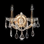Maria Theresa Design 2-Light 16'' Chrome or Gold Wall Sconce Dressed with Swarovski or European Crystals SKU# 10415