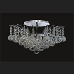 "Flamingo Design 6-Light 19"" Gold or Chrome Ceiling Flush Mount with European or Swarovski Spectra Crystal Strands  SKU# 19587"